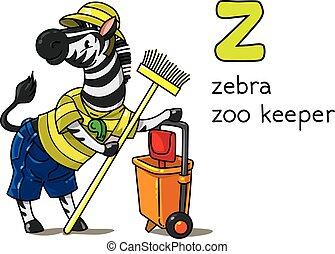 z, profession, alphabet, zebra, animaux, abc, gardien