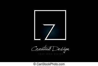Z Square Frame Letter Logo Design with Black and White Colors.