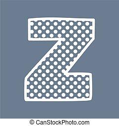 Z vector polka dots alphabet letter