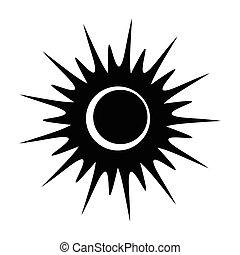 zaćmienie, jednorazowy, czarnoskóry, słoneczny, ikona
