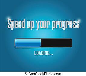 załadowczy, bar, do góry, postęp, szybkość, twój