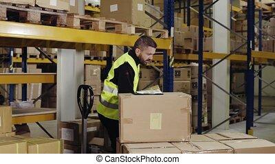 załadowczy, pracownik, ręka, siennik, samiec, magazyn, truck.
