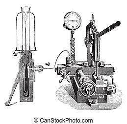 zařízení, engraving., vinobraní, plyn, liquefaction