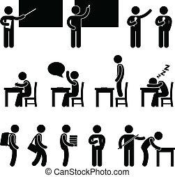zařadit, škola byt, student, učitelka