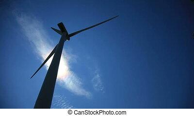 zaświecić, turbina, wstecz, wiatr