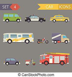 za, byt, vůz, ikona, dát, vektor