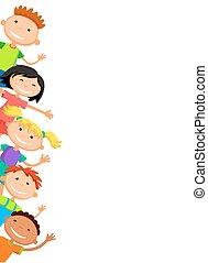 za, dzieciaki, plakat, podglądający, ilustracja
