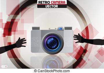 za, kamera, vektor, ilustrace