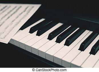 za, klavír, s, noticky, hudba, grafické pozadí