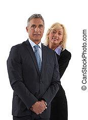 za, obsadzać kobietę, blondynka, garnitur