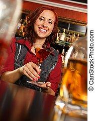 za, rudzielec, barmanka, butelka, kantor, bar, piękny