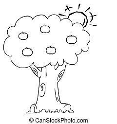 za, słońce, drzewo, jabłko