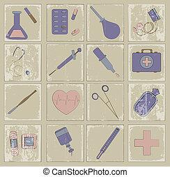 za, vektor, ikona, lék