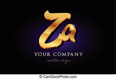 za z a 3d gold golden alphabet letter metal logo icon design handwritten typography