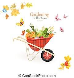 za, zahrada, kolečko, s, zelenina, jako, tvůj, design