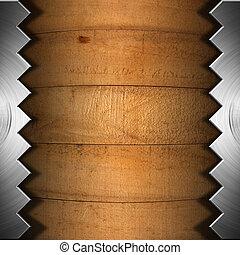 zaag, metaal, oud, raad, houten