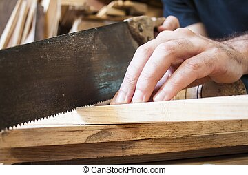 zaag, op, meubelmakerij, houten, achtergrond