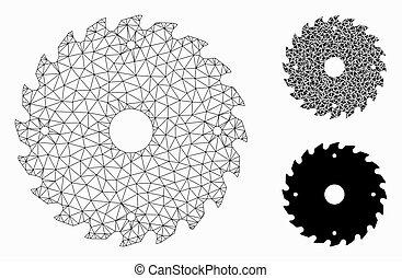 zaagblad, draad, model, maas, frame, circulaire, pictogram, mozaïek, vector, driehoek