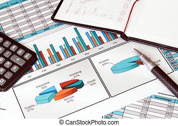 zaak stil leven, met, financiën, stats