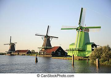 Zaanse Schans 2 - The windmills of the Zaanse Schans in the...