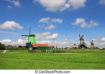 zaanse schans, village., netherlands.