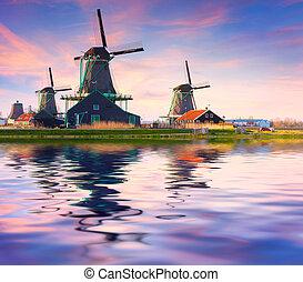 zaanstad, zaandam, moinhos, água, willage., autêntico, canal