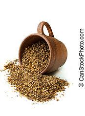 Zaatar. - Mix of herbs, sesame seeds and salt in a ceramic...
