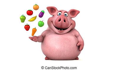 zabawa, świnia, ożywienie, -, 3d