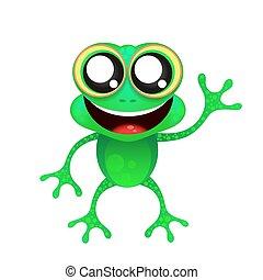 zabawa, biały, żaba, tło