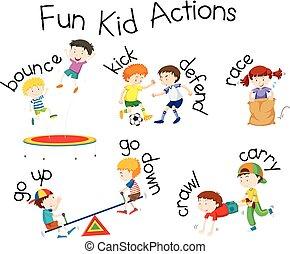 zabawa, czyny, plac gier i zabaw, ilustracja, koźlę