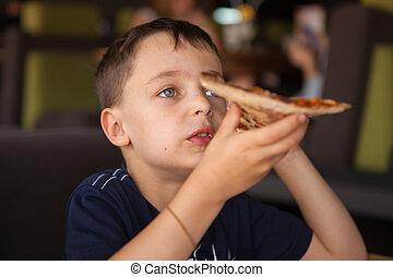 zabawa, dziecko jedzenie, posiadanie, pizza