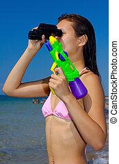 zabawa, kobieta, plaża, młody, posiadanie