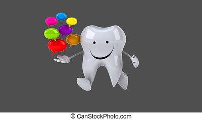 zabawa, komputer, -, ożywienie, ząb