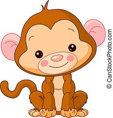 zabawa, małpa, zoo.