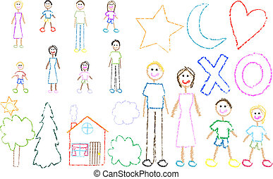 zabawa, pastel rysunek, rodzina, koźle