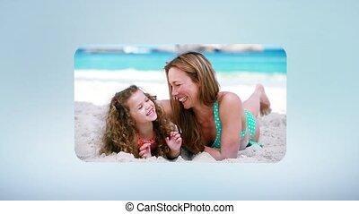 zabawa, plaża, posiadanie, rodzina