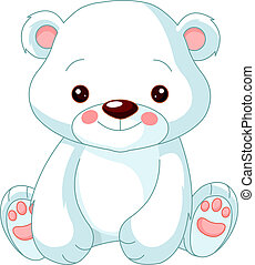 zabawa, polarny, zoo., niedźwiedź