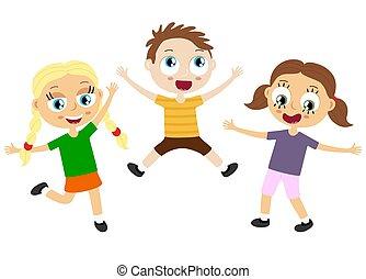 zabawa, posiadanie, szczęśliwy, dzieciaki