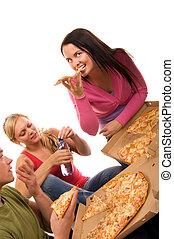 zabawa, przyjaciele, jedzenie, posiadanie, pizza