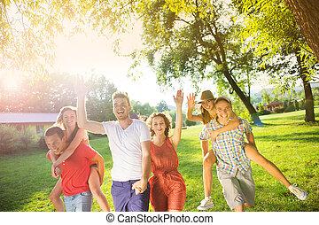 zabawa, przyjaciele, park, posiadanie
