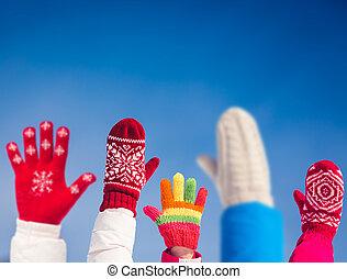 zabawa, rodzina, zima