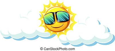 zabawa, słońce, sunglasses