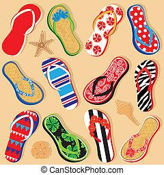zabawa, seashells, sandały
