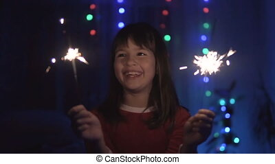 zabawa, sparklers, dziewczyna, posiadanie
