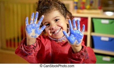 zabawa, szczęśliwy, malarstwo, posiadanie, dzieci