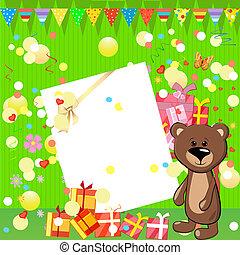 zabawa, urodzinowa partia, z, dary