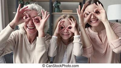 zabawa, zabawny, multigenerational, rodzina, ustalać, mieć, ...