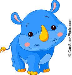 zabawa, zoo., nosorożec