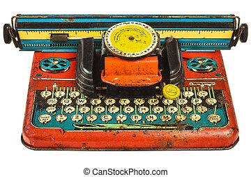 zabawka, barwny, rocznik wina, odizolowany, biały, maszyna do pisania