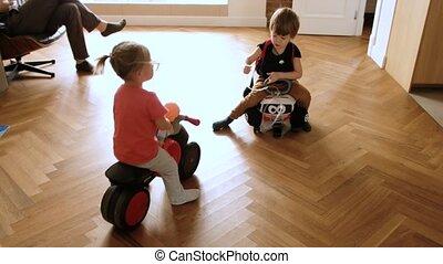 zabawka, dom, jeżdżenie, pojazd, siostra